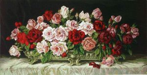 1053 TT Rosen in Silberschale 41x80 cm