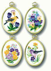 JL 004-0715 Janlynn 4er Set Minibildchen Blumen u.Vögel