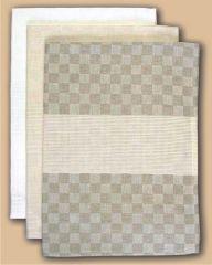 FHA Geschirrtuch 50x70 cm Halbleinen sand Schachbrett