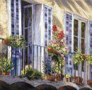1135 TT  Balkon mit Blumen 59x59 cm