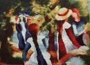 1065 TT Mädchen unter Bäumen von August Macke 64x46 cm