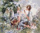 WO 791 TT  Mutter mit Kind in Blumenwiese  48x58 cm